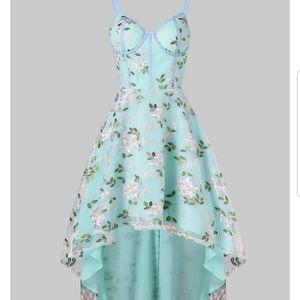 Spaghetti strap embroidery high low midi dress